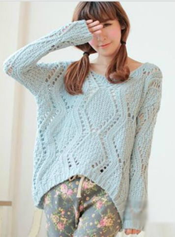 At the first sight of this pullover you will be attracted easily because of the color and pattern. This sweater has sweet style and so fresh when you dress it maybe because its light color. And the as
