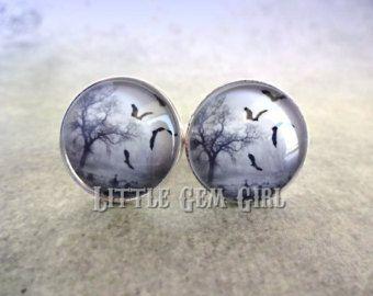 Cimitero gotico gemelli - Halloween pipistrelli argento gemelli sposo gemelli regali per il papà - matrimonio gotico gemelli - padri giorno