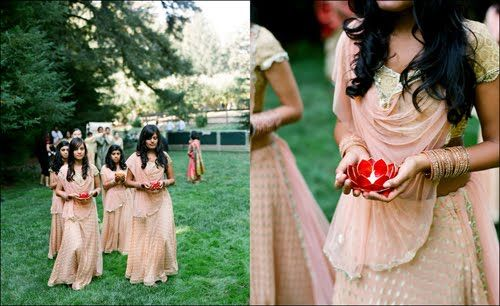 Charming peach bridesmaids sarees in gujharati style
