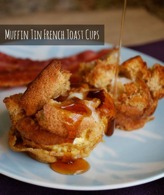 Great way to use up heels of bread or one last hamburger bun. Make mini french toasts in a muffin tin.