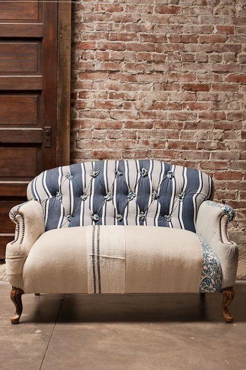 Loveseat upholstered in grain sack
