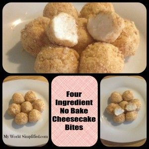 No Bake Cheesecake Bites. I bet if you dipped these in strawberry sauce (the kind you use for ice cream sundaes) then these would be amazing.....