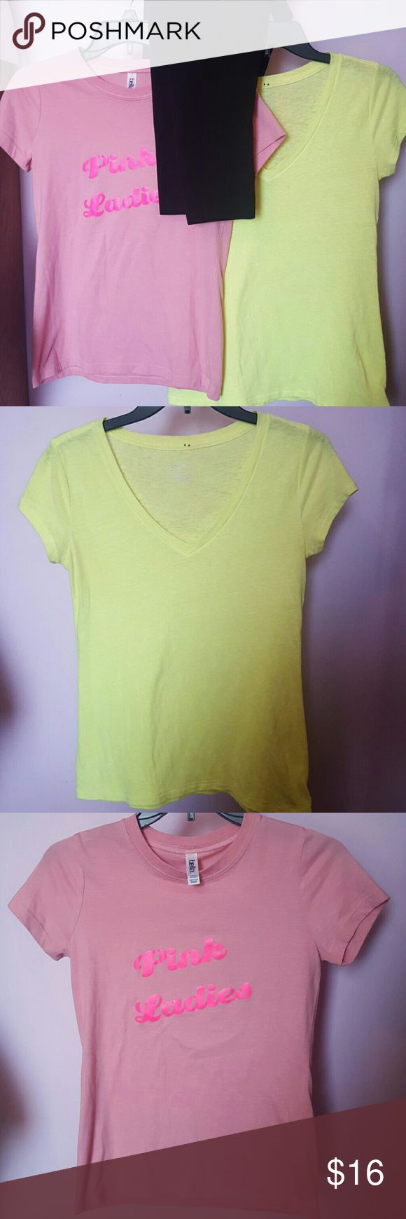 """🌷Size Small Bundle! Cute size small clothing bundle! Neon yellow xhilaration short sleeve tshirt, pink tshirt that sayes """"pink ladies"""" in neon pink on front, and a pair of black J.Jill ankle leggings. All size small, and all are in good used condition. The yellow shirt is a very bright neon yellow, the pictures don't do its bright color justice Xhilaration Tops Tees - Short Sleeve"""