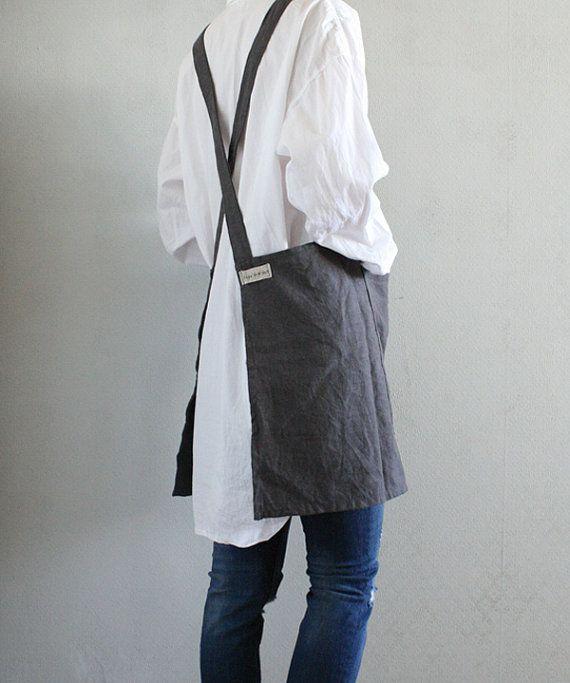 Square Cross short linen apron/ Criss-Cross Apron/  No-ties Apron