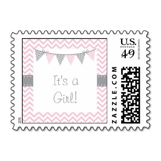 Pink Chevron Personalized Postage Stamps