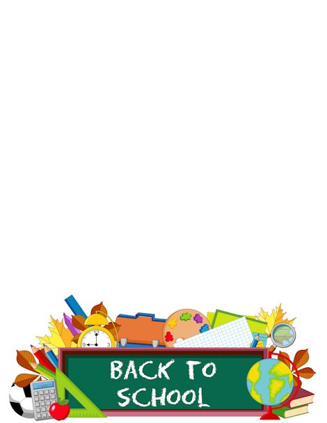 Printable back to school border. Free GIF, JPG, PDF, and PNG downloads at http://pageborders.org/download/back-to-school-border/. EPS and AI versions are also available.