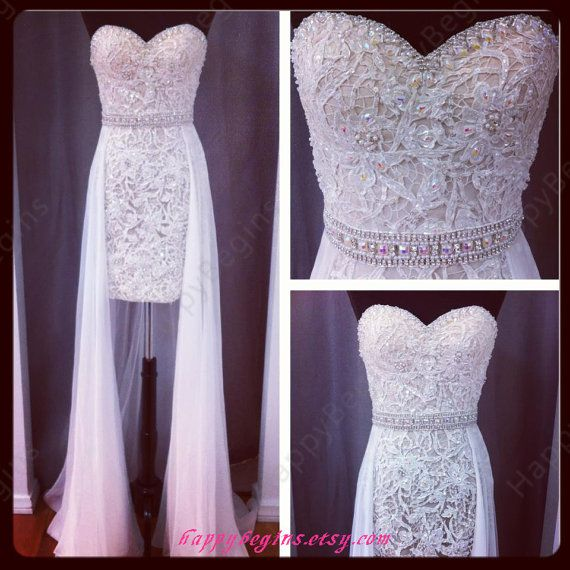 Short white lace reception dress/ wedding reception dress/ bridal reception dress in handmade on Etsy, $149.00
