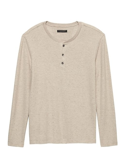 27af0706 Banana Republic Mens Waffle-Knit Cotton-Modal Henley T-Shirt Sand Khaki