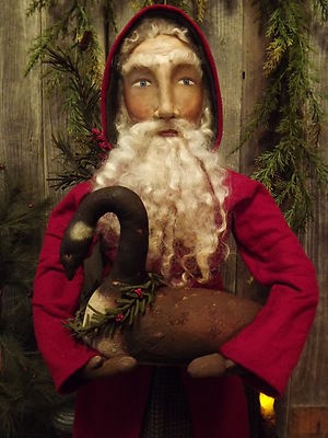 Primitive Folk Art Old World Santa with Canadian GOOSE Doll Tdipt | eBay