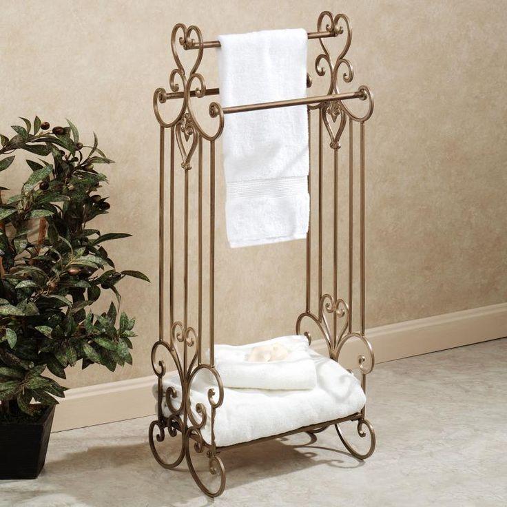 Modern Bathroom Towel Display with Metal Logam Floral Divier style