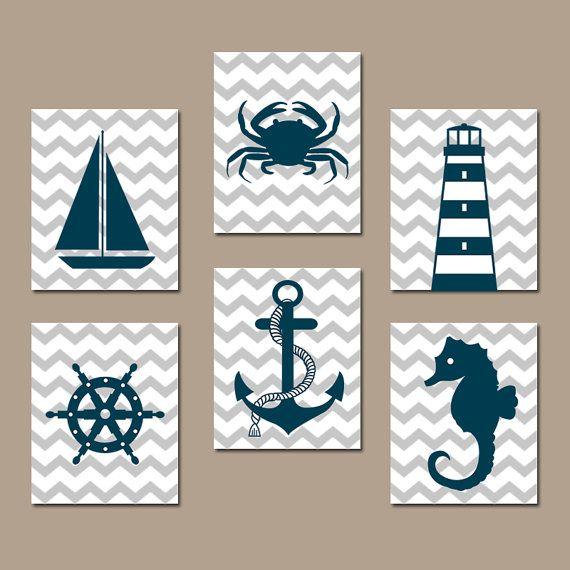COASTAL NAUTICAL Wall Art, Baby Boy Nautical Nursery Artwork, Ocean Bathroom Decor, Sailboat Anchor Lighthouse Crab,CANVAS or Print,Set of 6
