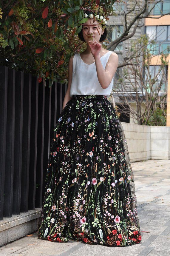 6e807cc27162a Black Floral Embroidery Long Skirt / High Waist Maxi Event Party ...