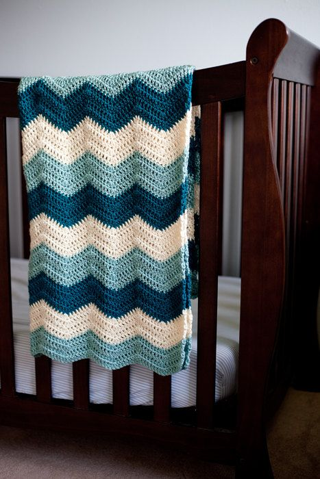 Blue Crochet Baby Blanket Teal Cream and Seafoam Zig by AllStuftUp, $57.00: