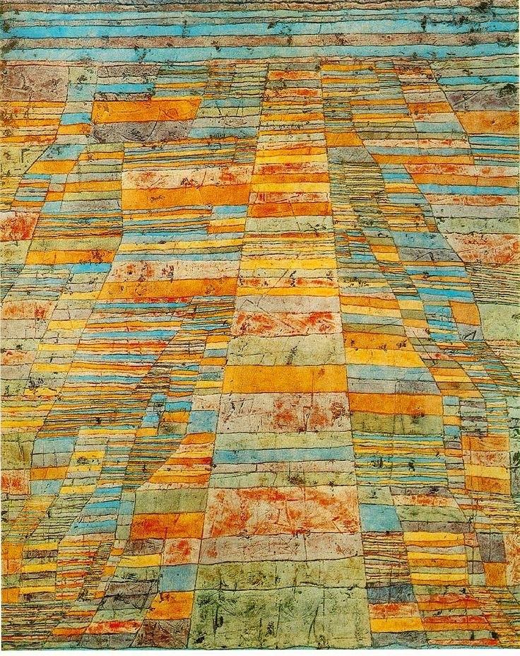 """Using his """"strata"""" as building blocks, Klee offers an aerial or """"bird's eye"""" view as the landscape appears obliquely to create the illusion of perspective and relief. Here complexity emerges geomet..."""