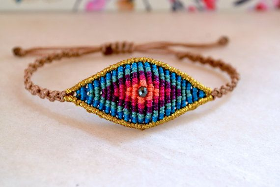 Evil Eye Macrame bracelet in Summer Blue Colors with hematite bead /High Quality handcrafted Micromacrame adjustable bracelet