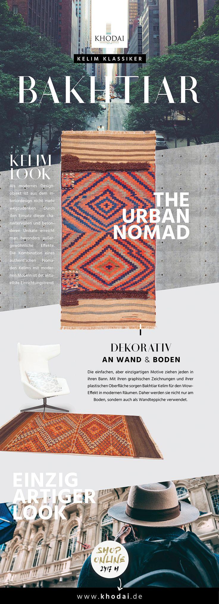 Modernes Designobjekt - Kelim Teppich Klassische Webteppiche im Nomadenstil von KHODAI - Handmade Carpets