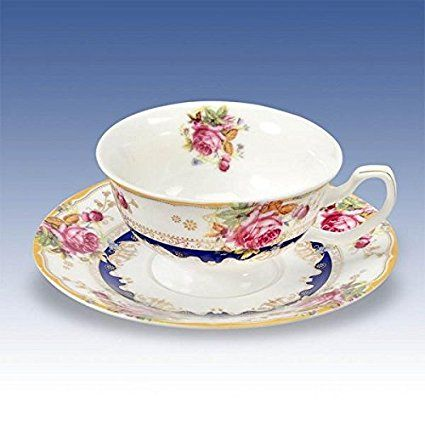 China Cup & Saucer Floral Classical Style Bone China Vintage Handles Vibrant Colours