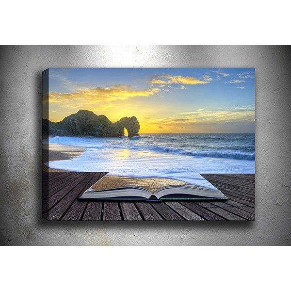 Deniz ve kitap kanvas tablo