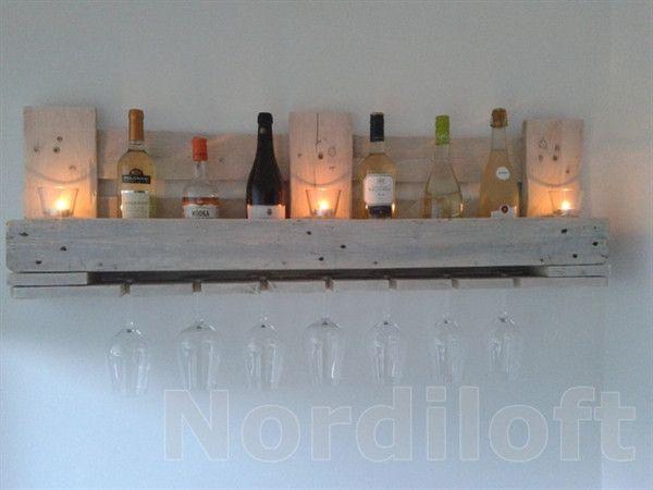 Wandregale - Palettenmöbel-Weinregal aus Europalette weiss - ein Designerstück von Nordiloft bei DaWanda