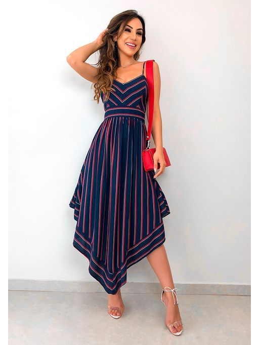 Vestido Listrado Ponta Midi Azul | Vestidos in 2019 | Pinterest | Dresses, Dress skirt and Striped dress