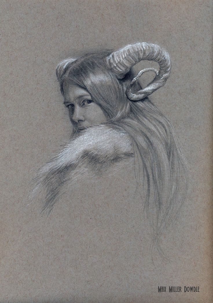 """Hannah Wearing Horns"" Graphite and White Heightening on Toned Paper by Max Miller Dowdle"