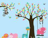 Decal adesivo vinile albero e ramo giungla adesivi murali personalizzati listato giraffa, elefante, vivaio di scimmia
