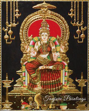 Bhuvaneshwari Tanjore Painting See more at http://www.madhurya.com/tanjore-paintings.html #tanjorepaintingsonline #tanjorepaintings #laxmipainting