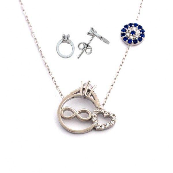 Tektaş motifli,925 ayar gümüş bayan ve küpe