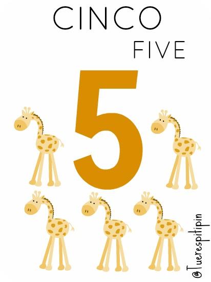 ♣ Tarjetas educativas: Números del 1 al 5