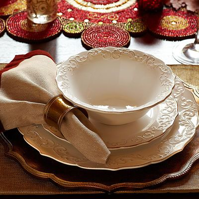 Antique Scroll White Dinnerware | Glitter charger ...