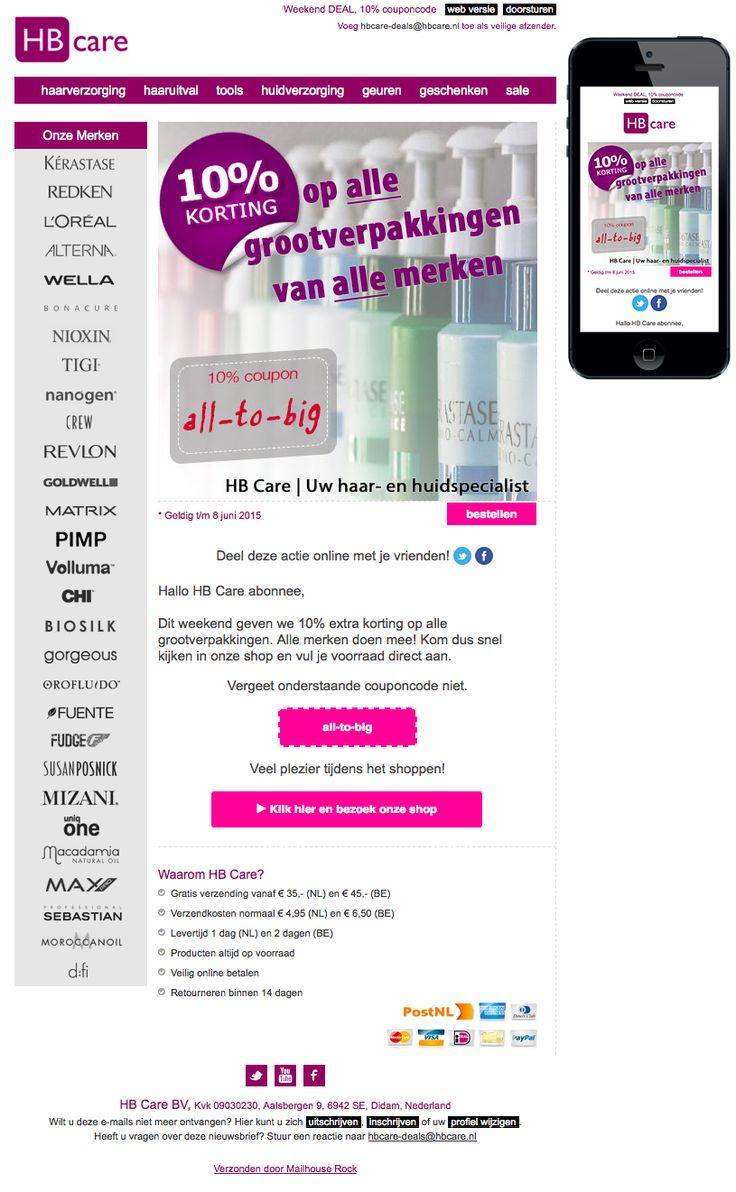 Email Newsletter Template. Weekend DEAL op grootverpakking haar- & huidproducten. Verzonden op 7 juni 2015.