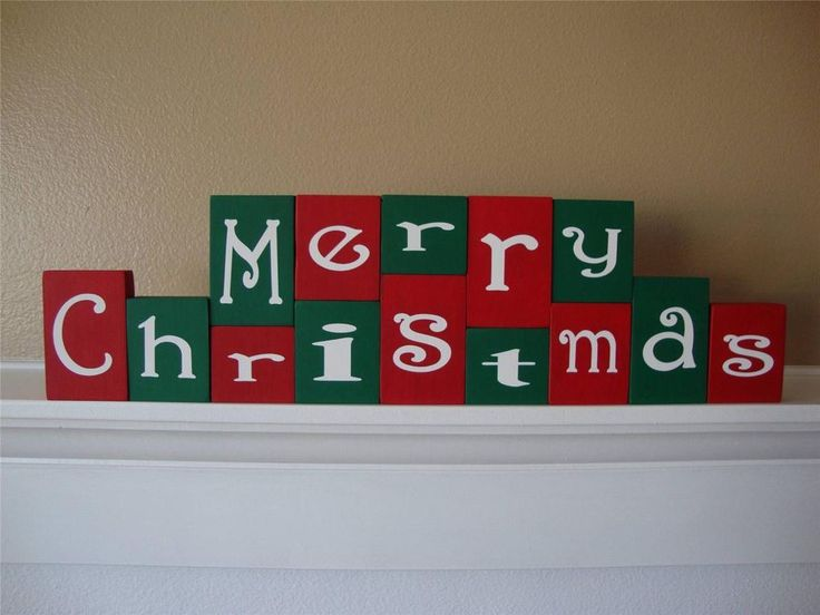Merry Christmas Holiday Shelf Mantle Home Decor Handmade Wooden Block Letters