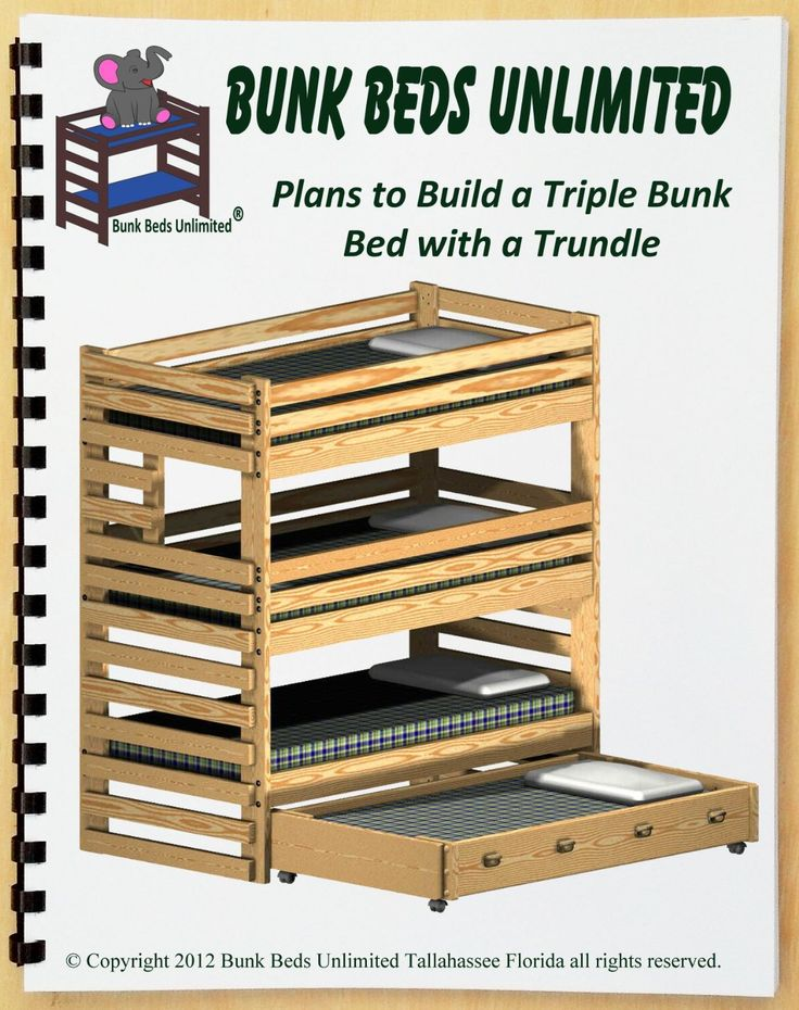 Triple Bunk Plan (not a bed) to Build Your Own ExtraTall