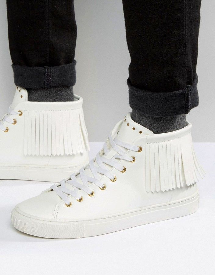 ASOS Fringe High Top Sneakers In White