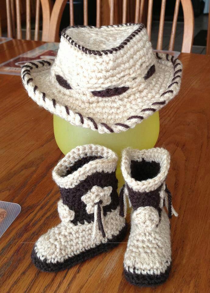 Excelente Botas De Vaquero Bebé Patrón De Crochet Libre ...