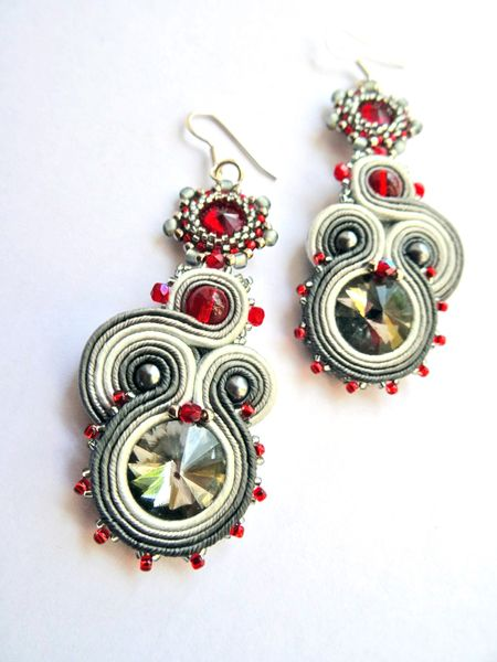 Shine 26 - soutache + beading earrings w VAKARAS Jewellery by Slomkad na DaWanda.com