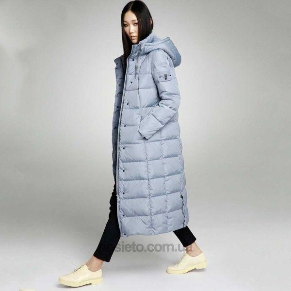 купить Длинный пальто - пуховик с двумя замками на воротнике