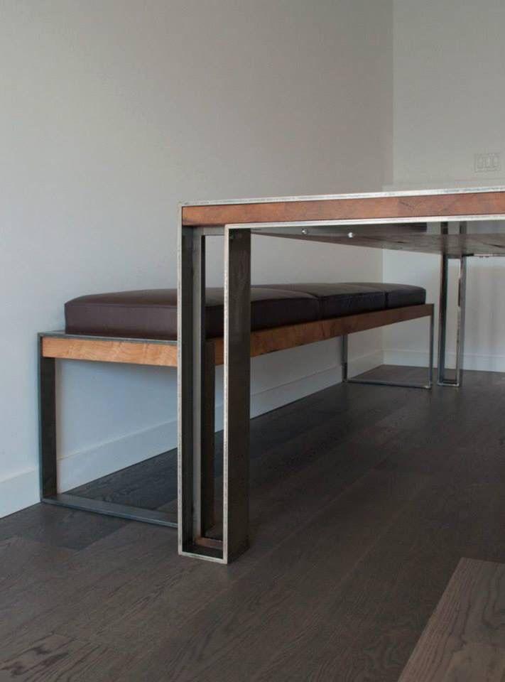 Tavolo e panca legno-metallo