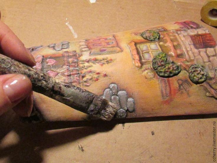 Мастер-класс: обьемный декупаж на черепице «Маленькие домики» - Ярмарка Мастеров - ручная работа, handmade