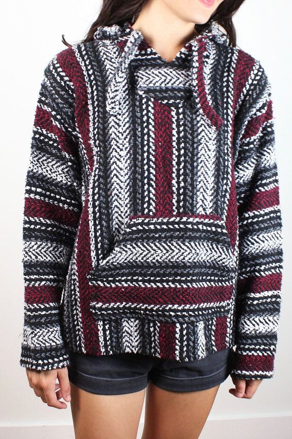 Vintage 1990s Baja Hoodie Gray Black Burgundy Red Striped Hooded Poncho 90s Drug…