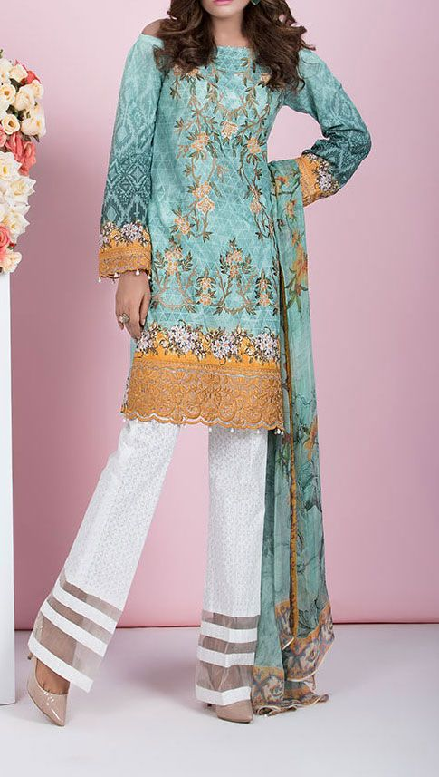 Buy Turquoise Embroidered #CottonLawnDress by Baroque 2016 Contact: 702-7513523 Email: info@pakrobe.com Skype: PakRobe