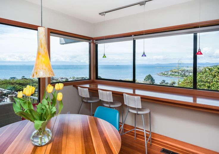 I could get used to having my morning coffee in this kitchen overlooking Gonzales Bay (in Victoria, BC).