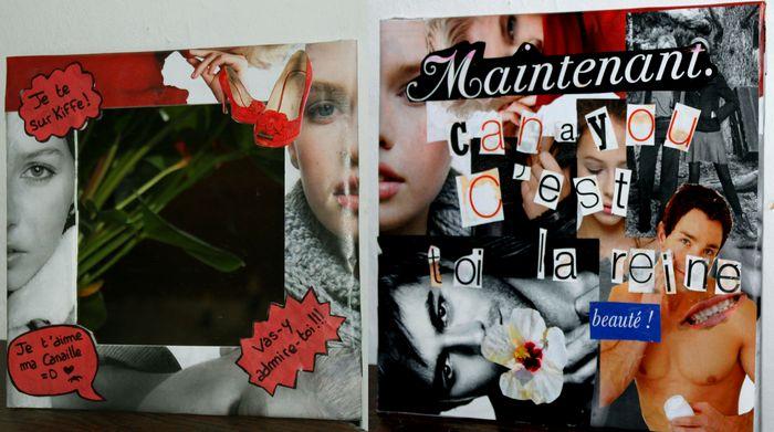 Miroir avec collage d'images de magazines