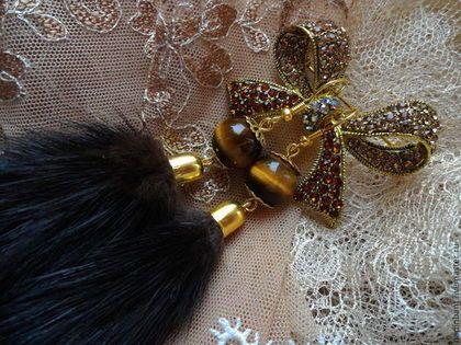 Серьги Пушистые с мехом Норки и тигровым глазом - коричневый,темно-коричневый