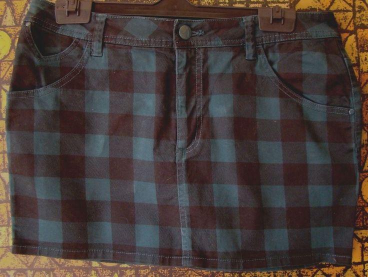 "MINI GONNA quadri denim fascia  S M 44  ""H&M"" verde nera jupe rock skirt jeans"