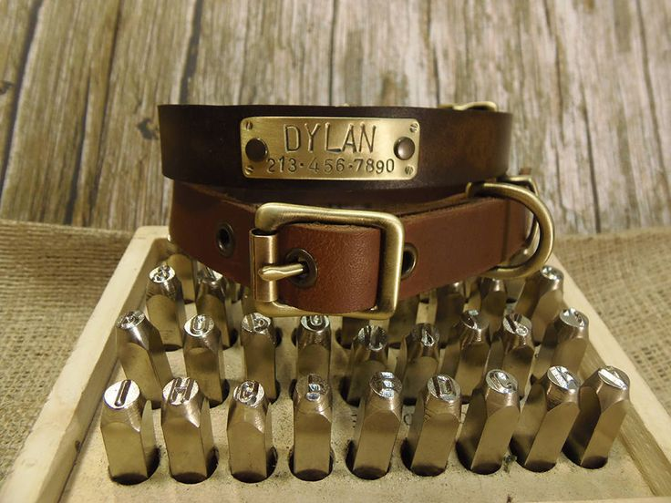 Dog Collar, Handmade Collar, Leather Collar, Dog Id Tag, Customized Leather Collar, Rustic leather collar, Rustic brown leather, Dog gift. by VacForPets on Etsy