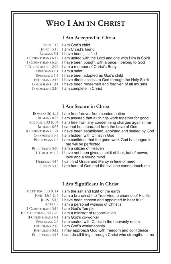 Who I am in Christ...need to print this!