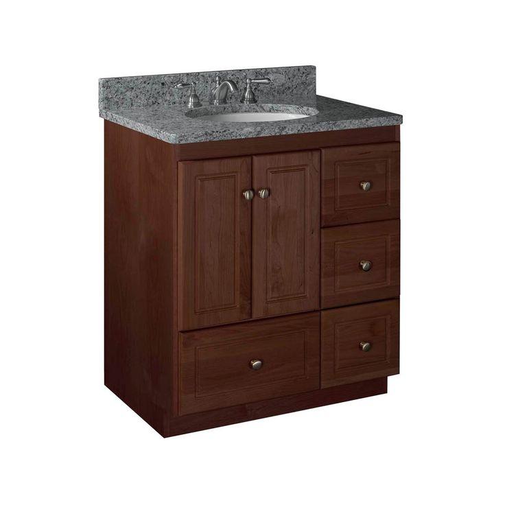 double bathroom vanity cabinet only simplicity door style medium alder red counter depth lowes cabinets
