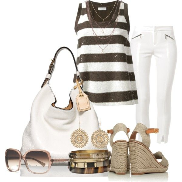 Brown and White, created by michellesolinas on Polyvore