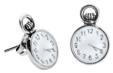 """Oorstekers """"Disney Couture - Alice in Wonderland Pocket Watch"""":  - oorstekers uit de """"Alice In Wonderland"""" collectie van Disney Couture - zilverkleurige oorstekers gemaakt van nikkelvrij metaal met wit bladgoud in de vorm van een zakhorloge - diameter: 1 cm - staafjes gemaakt van titanium - gevuld met email - geleverd in een set van 2 - geleverd in een buidel met logo van Disney Couture - de horloges werken niet - dient uit de buurt gehouden te worden van vocht, parfum, lo..."""